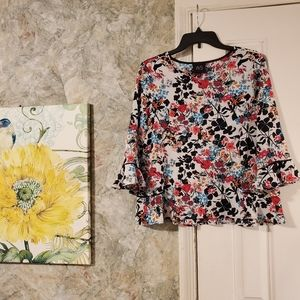⏰ Anthro W5 | Floral 3/4 Flutter Sleeve Blouse